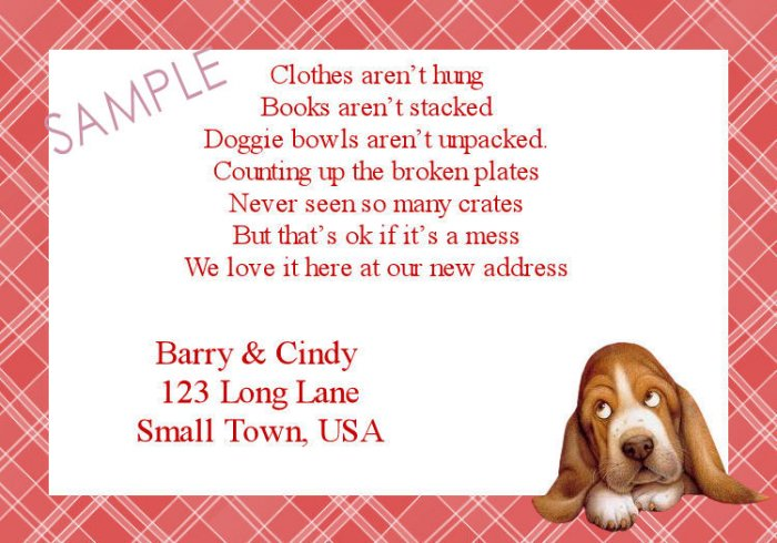 Just Moved Moving Announcements Personalized Cards Basset Hound