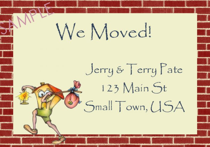 Just Moved Moving Announcements Personalized Cards House With Red Brick Trim