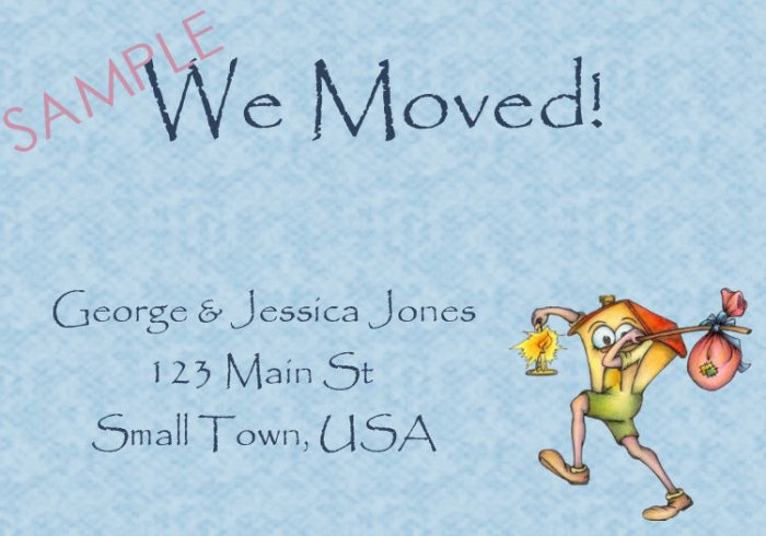 Just Moved Moving Announcements Personalized Cards House With Blue Background