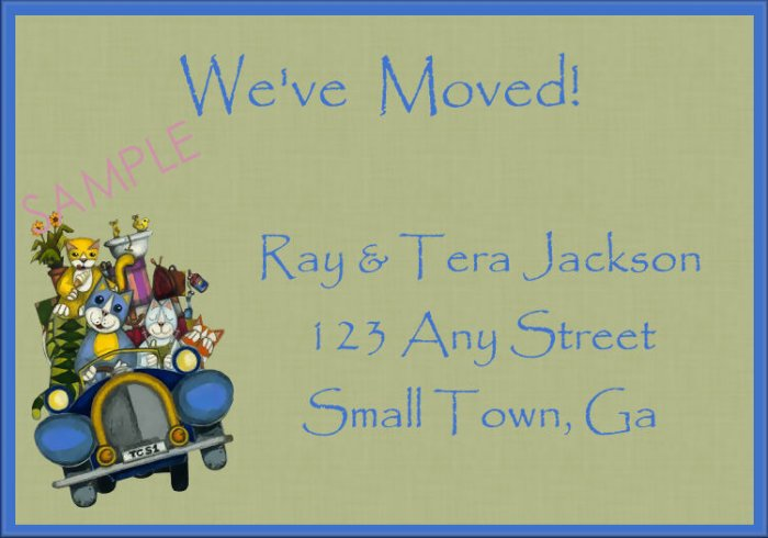 Just Moved Moving Announcements Personalized Cards Cute Cats Driving A Packed Car
