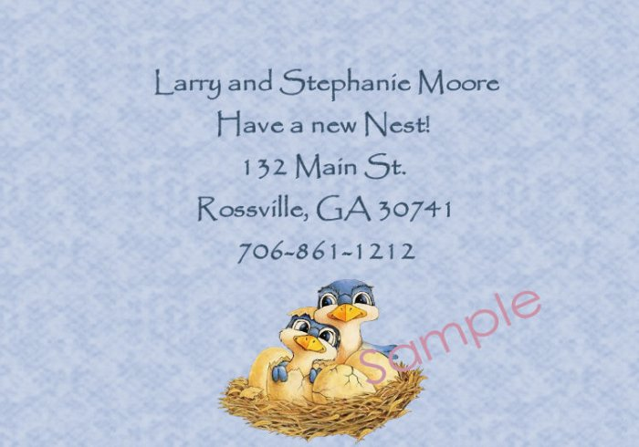 Just Moved Moving Anouncements Personalized Cards Cute Birds In Nest