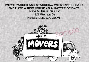 Just Moved Moving Announcement Cards Personalized Moving Truck With Grey Background