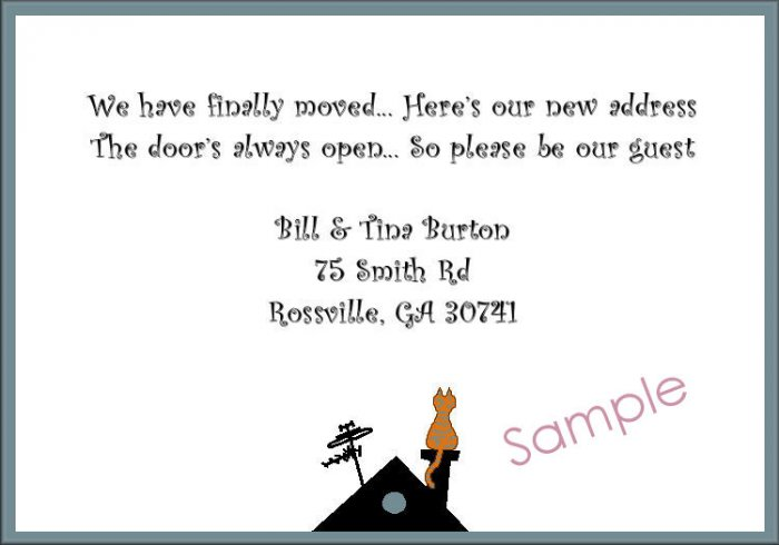 Just Moved Moving Announcements Personalized Cards Cat Silhouette On Roof top