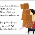 Just Moved Moving Announcements Personalized Cards Man With Boxes