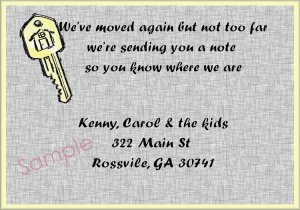 Just Moved Moving Announcements Personalized House Key on Grey Background