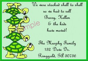 Just Moved Moving Announcements Personalized Cards Cute Turtles Stacked