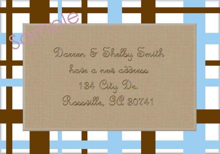 Just Moved Moving Announcements Personalized Cards Blue And Brown Plaid