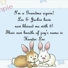 New Baby Birth Announcements Personalized Cards With Cute Bunnies