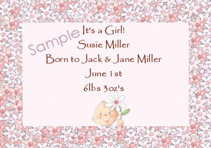 New Baby Birth Announcements Personalized Cards Cute Baby With Flower Border