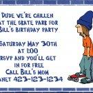 Birthday invitations personalized skater skateboard kid