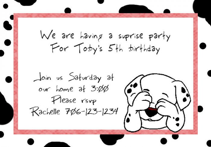 birthday invitations personalized dalmation