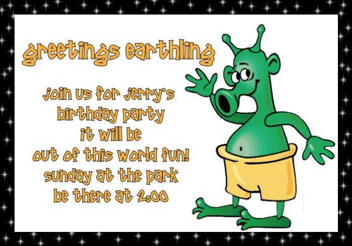 Birthday invitations personalized alien theme