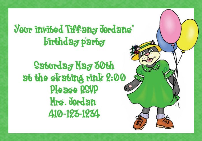 birthday invitations personlized cat kitten girl