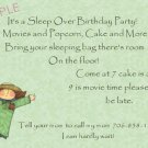 birthday sleep over invaitations personalized girl jumping
