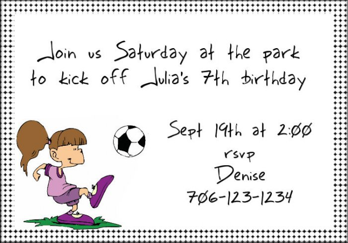 Soccer girl invitation