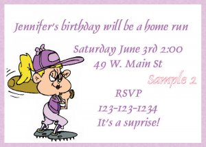 Girl's Baseball invitation