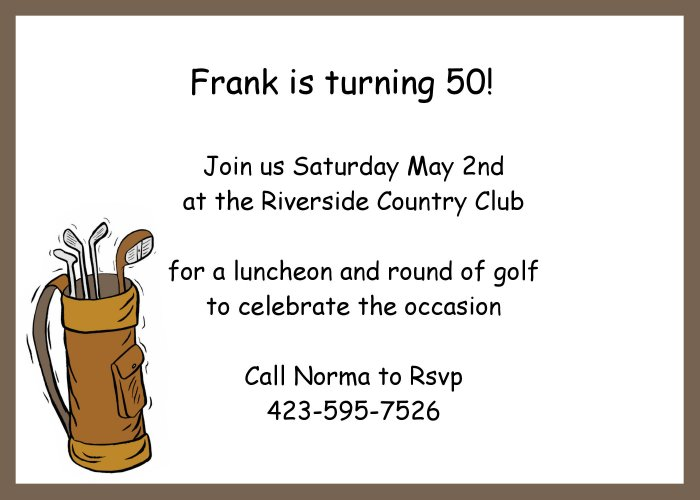 Golf Bag invitation