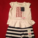 Jumping Beans  2pc White/Red/BlueBlouse and Blue/white  Shorts, 18  Months NWT