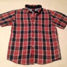 BabyGap Toddler Boys, Shirt, Size 5-6, Navy Blue/Red White Plaid,  short Sleeve