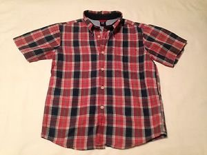 BabyGap Toddler Boys, Shirt, Size 5-6, Navy Blue/Red White Plaid,  short Sleeve