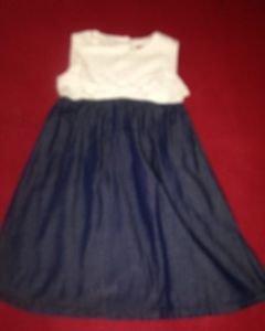 Lemon kiss dress for toddler size 4T, White/Navy, Bold front Bow