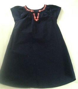Oshkosh, Toddler  Girls Dress, size 5 Navy Blue w/ Orange Trim, Tunic
