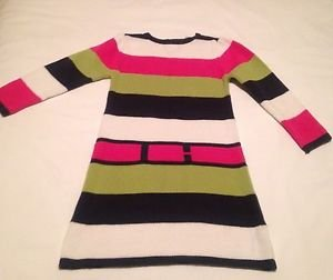 Haststrings, Toddler  Dress Size 4, Green/Pink/White/Navy Striped, Sweater Dress