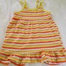 Kidgets Toddler Girls, Dress,Size 4T White w/ Orange.Yellow Striped, Ruffled Hem