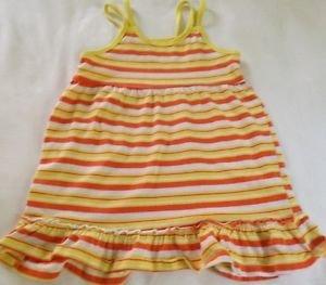 Kidgets Toddler Girls, Dress,Size 4T White w/ Orange.Yellow Striped, Ruffled Hem