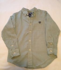 Chaps, Toddler Boys, Size 5,  Green/Blue/White Plaid, Button Down Front, Emblem