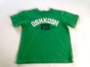 Oshkosh,  Toddler Boys, Shirt Size 4, Green/white/Navy, Short Sleeves