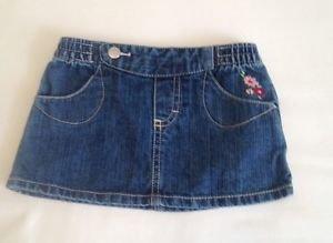 Infant Skirt, Size 3/6 months, Blue Denim, floral accents