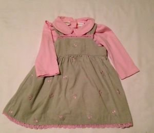 Little Billy,  Infant Girts, Dress, Size 12 months, Khaki/Pink  Floral Print