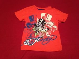 Ed Hardy Orange Graphic Tattoo Tee T Shirt Kids Boys, Size  4T