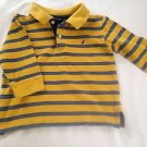 Nautica, Toddler Boys, Size 2, Yellow/Blue Striped W/ Blue Emblem, Polo