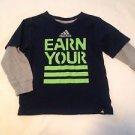 "Adidas Toddler Boys, Shirt, Size 4, BlueGray w// Green  Print, ""Earn Your   =="""