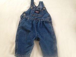 Oshkosh, Infant Boys,Size 3-6 months, Overalls, Blue Denin w/ Navy/Yellow Emblem