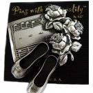 Designer-Pewter Metal Ballet Slippers & Roses Pin