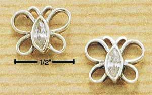 A Pair of Sterling Silver OPAL Cubic Zirconia (CZ-Crystal) Open Butterfly Post Earrings
