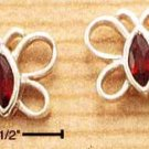 A Pair of Sterling Silver GARNET Cubic Zirconia (CZ-Crystal) Open Butterfly Post Earrings