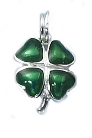 STERLING SILVER ENAMELED DEEP GREEN 4-LEAF CLOVER LUCKY CHARM