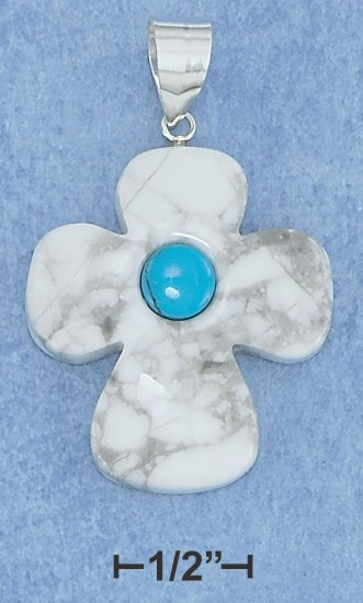 Gift Boxed Sterling Silver 30mm Cross Charm with Reconstituted Turquoise