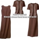NEW WITH TAGS (Petite 6-Size Suit) Woman's Brown Floral Dress with Jacket
