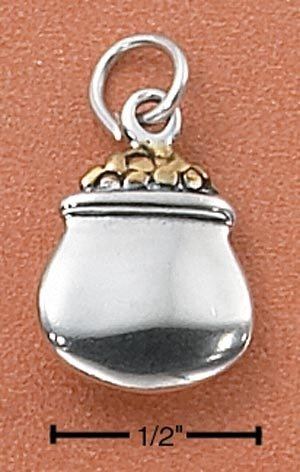 0.925 Sterling Silver Two-Tone Pot of Gold LUCKY Charm