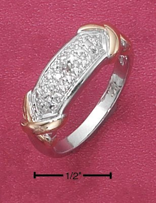 Size-6 beautiful 0.925 Sterling Silver Platium Plated Pave Diamond Accent Band with Gold Tone Ring