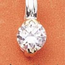 NEW 0.925 STERLING SILVER With 14K GOLD 7MM ROUND CUBIC ZIRCONIA PENDANT