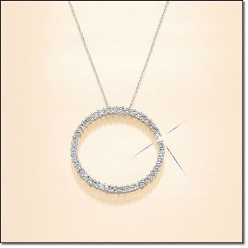 "Shiny! 0.925 Sterling Silver 20"" Italy Box Necklace & RHINESTONE CIRCLE PENDANT"