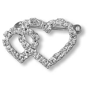 """VALENTINE"" TWO-HEART-TOGETHER Clear Crystal Rhinestones Pin/Brooch"