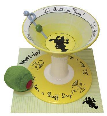 NEW Large Ceramic Martini Dog Bowl Set