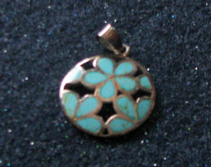 Gift Boxed 0.925 Sterling Silver 23MM Round Floral Reconstituted Turquoise  Pendant